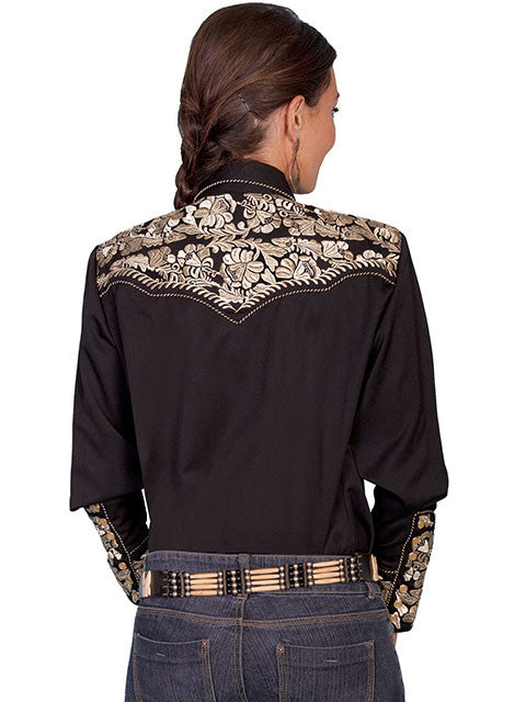 ca8460fe2d3 ... Vintage Inspired Western Shirt Ladies Scully Gunfighter Gold Black Back  XS-XL ...