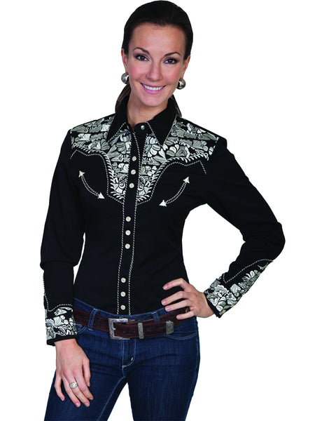 Vintage Inspired Western Shirt Ladies Scully Gunfighter Silver Black Front S-2XL