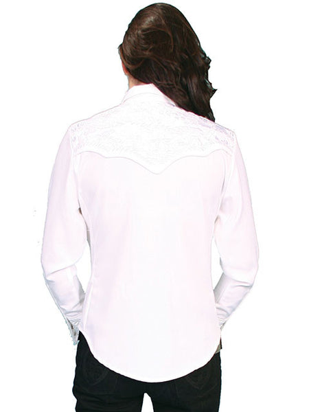 Vintage Inspired Western Shirt Ladies Scully Gunfighter White Front XS-2XL