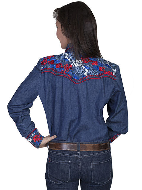 Vintage Inspired Western Shirt Ladies Scully Gunfighter Denim Multi Color Back XS-2XL