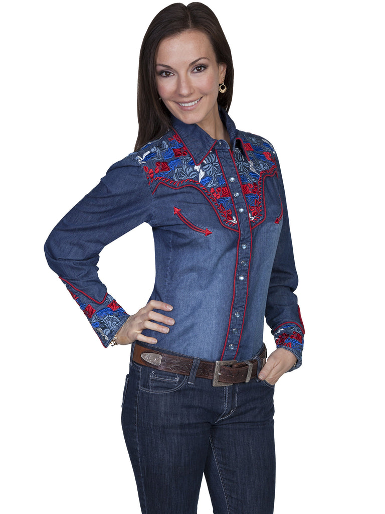 Vintage Inspired Western Shirt Ladies Scully Gunfighter Denim Multi Color Front XS-2XL