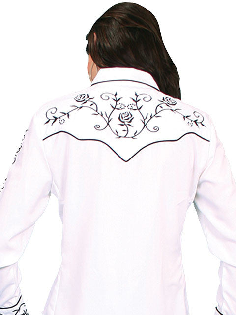 Vintage Inspired Western Shirt Ladies Scully Black Roses Back XS-2XL