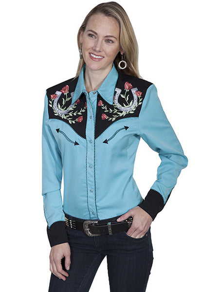 Scully Western Fancy Embroidered Shirt: Lucky Roses Front