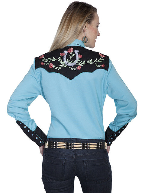 Scully Western Fancy Embroidered Shirt: Lucky Roses Back