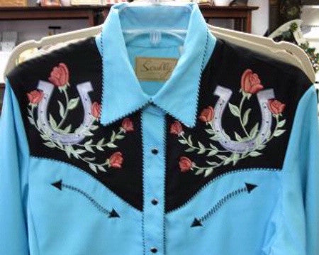 Scully Western Fancy Embroidered Shirt: Lucky Roses Front Yoke