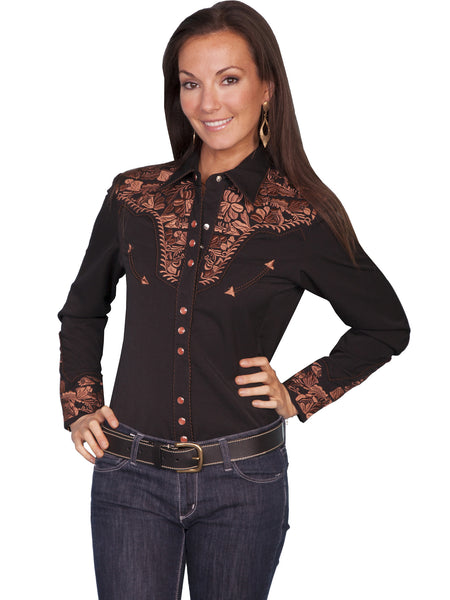 Vintage Inspired Western Shirt Ladies Scully Gunfighter Rust Black Front XS-2XL