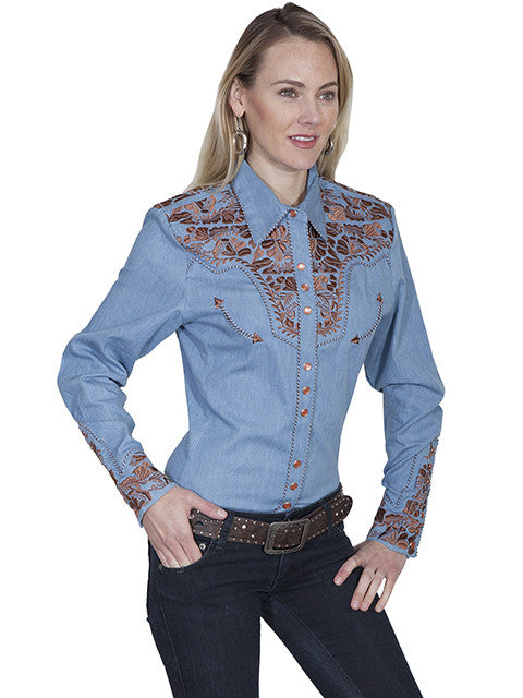 Vintage Inspired Western Shirt Ladies Scully Gunfighter Rust Blue Side XS-2XL