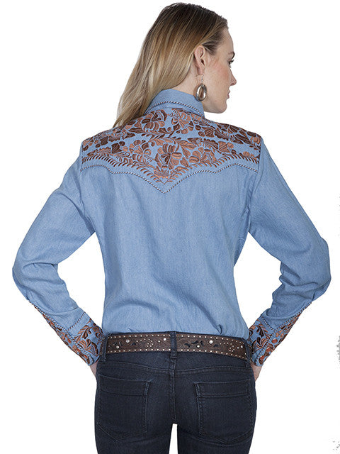 Vintage Inspired Western Shirt Ladies Scully Gunfighter Rust Blue Back XS-2XL