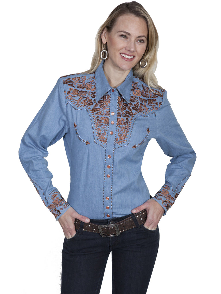 Vintage Inspired Western Shirt Ladies Scully Gunfighter Rust Blue Front XS-2XL
