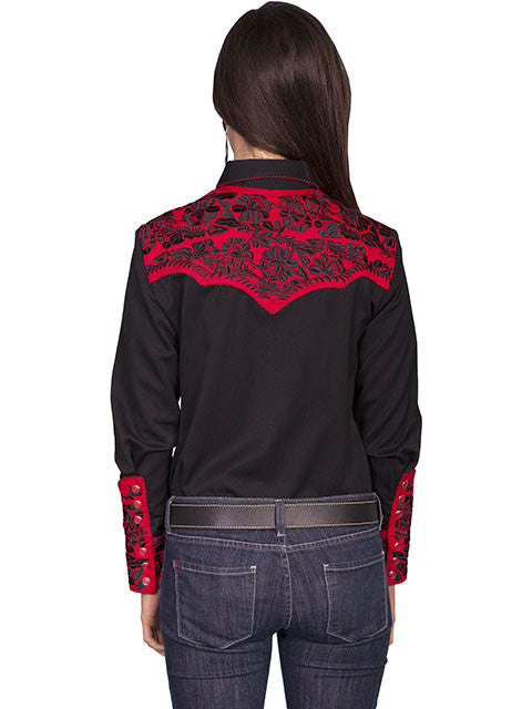 Vintage Inspired Western Shirt Ladies Scully Gunfighter Crimson Black XS-2XL