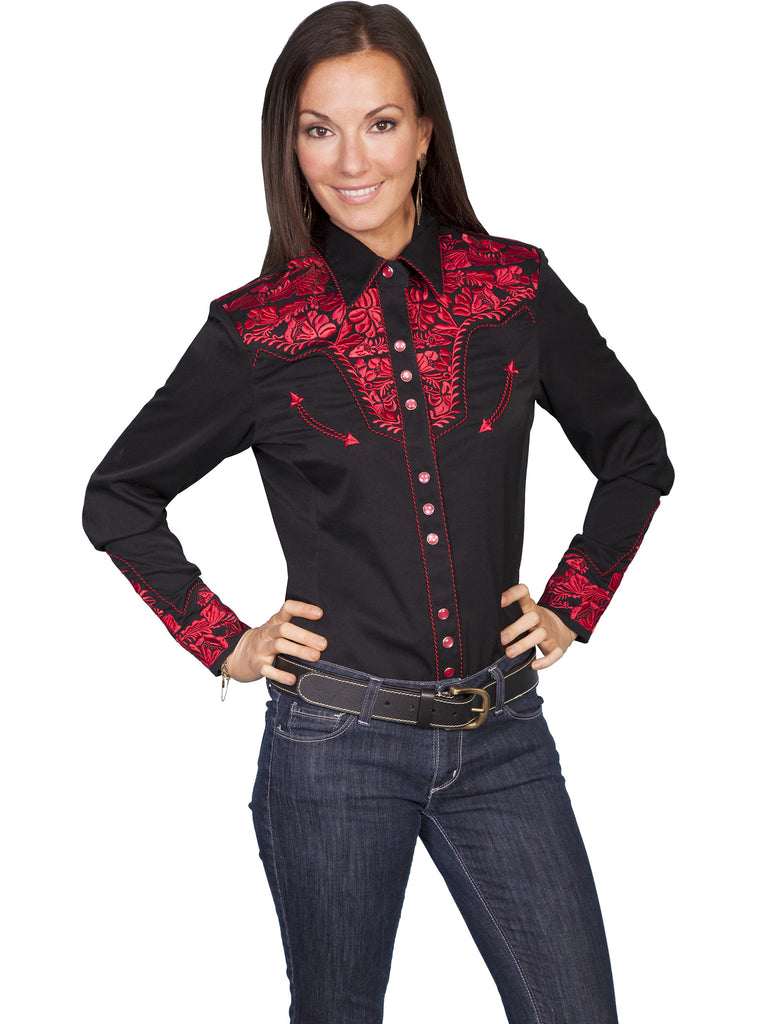 Vintage Inspired Western Shirt Ladies Scully Gunfighter Crimson Black Front XS-2XL