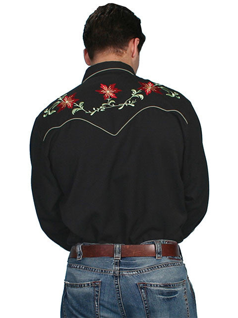 Vintage Inspired Western Shirt Mens Scully Floral Back Black S-4X