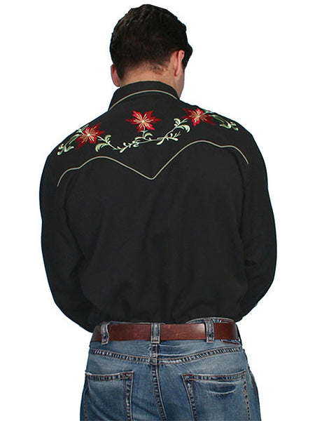Vintage Inspired Western Shirt Mens Scully Floral Front Black S-4X
