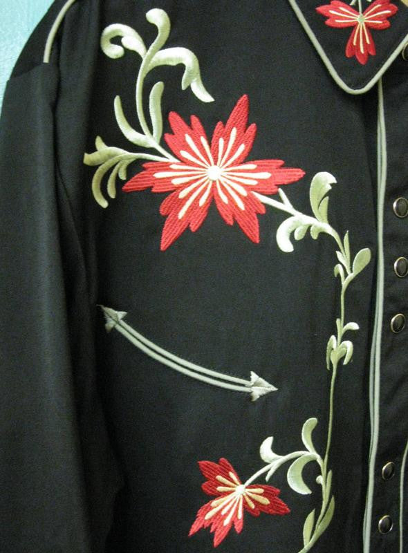 Vintage Inspired Western Shirt Mens Scully Floral Left Front Black S-4X