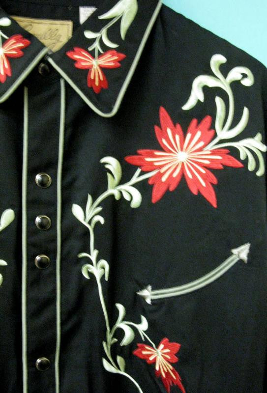 Vintage Inspired Western Shirt Mens Scully Floral Right Front Black S-4X