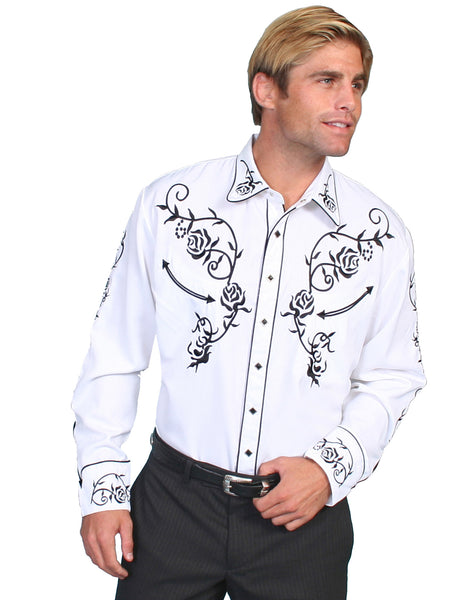 Vintage Inspired Western Shirt Scully Mens Roses and Vine Black on White Front View