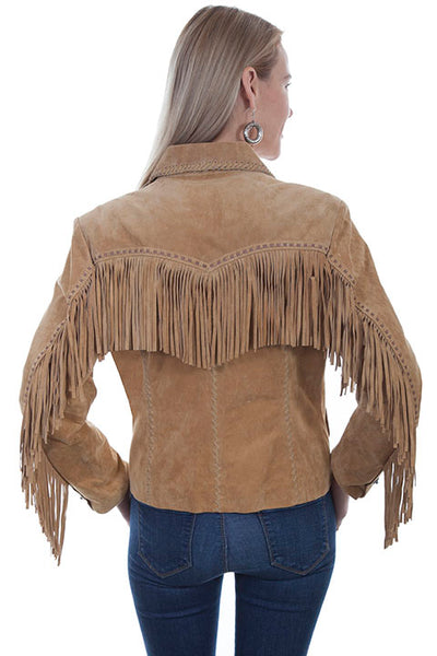 Scully Women's Suede Jacket with Fringe and Whip Stitching Front