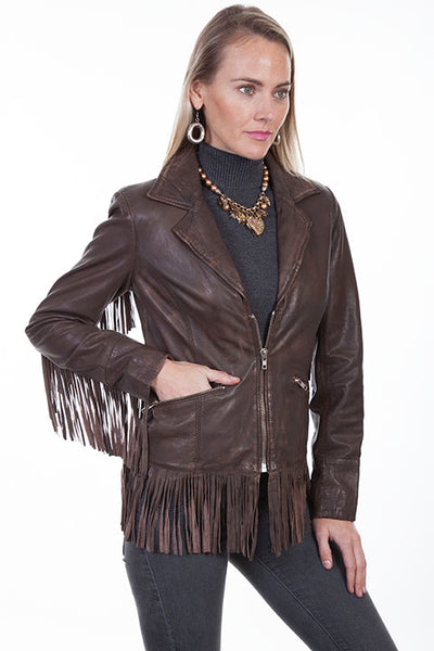 Scully Ladies' Leather Jacket with Fun Flirty Fringe Front