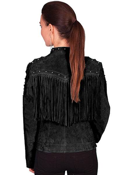Scully Womens Suede Jacket with Fringe, Studs, Lacing, Zip Front. Black, Front View