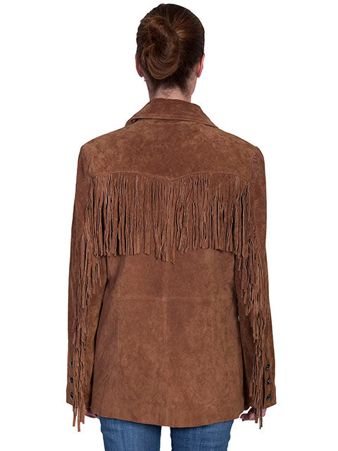 Scully Women's Suede Jacket with Fringe Cinnamon Back
