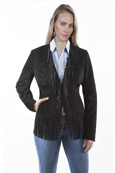 Scully Women's Suede Jacket with Fringe on Collar and Hem Black Front