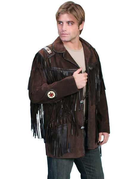Men's Leather Jacket Collection: Scully Western Fringe Sportscoat with Beads, Expresso