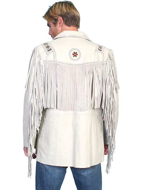 Scully Mens Western Sportcoat with Fringe, Beads, Cream Lamb. Back View