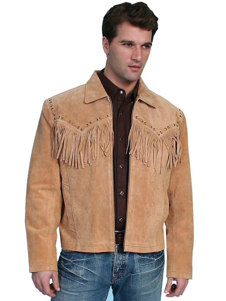 Men's Scully Suede Western Short Jacket with Fringe Bourbon BFront