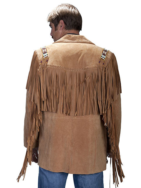 Scully Mens Fringe, Beads, Epaulets Jacket, Golden Tan Back View