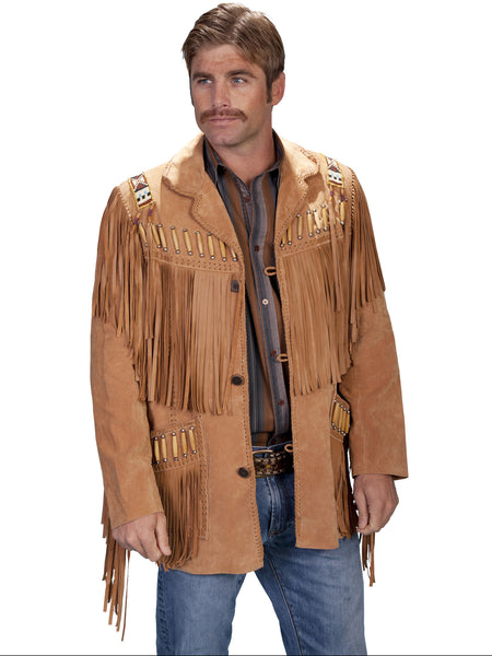 Scully Mens Fringe, Beads, Epaulets Jacket, Golden Tan Front View