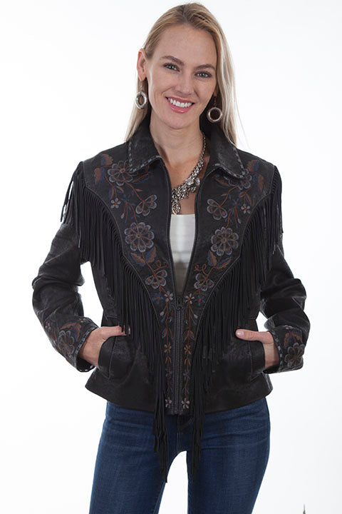 Scully Ladies' Leather Suede Fringe Jacket with Floral Embroidery Black Front