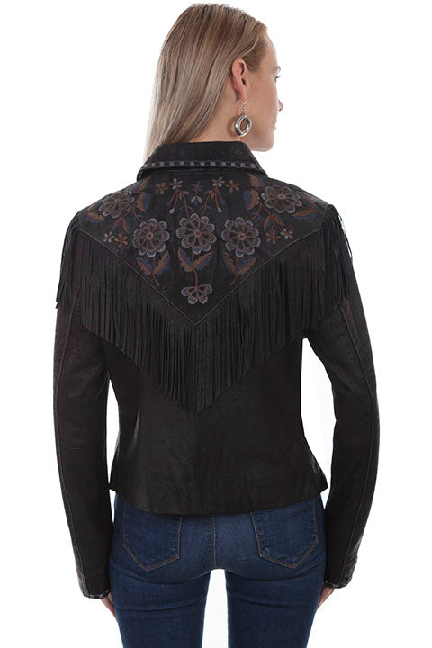 Scully Ladies' Leather Suede Fringe Jacket with Floral Embroidery Black Back