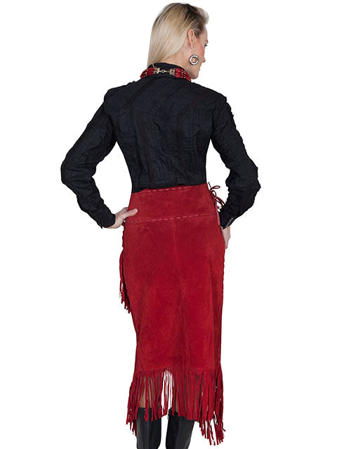 Scully Women's Western Wrap Skirt with Fringe, Red Back