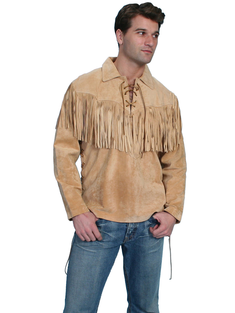 Scully Men's Old West Trapper Shirt, Fringe, Golden Tan Front View