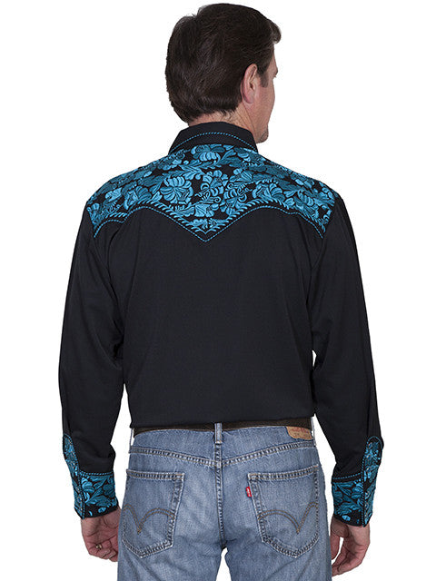 Vintage Inspired Western Shirt Mens Scully Gunfighter Turquoise Back S-4XL