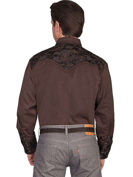 Vintage Inspired Western Shirt Mens Scully Gunfighter Chocolate S-2XL