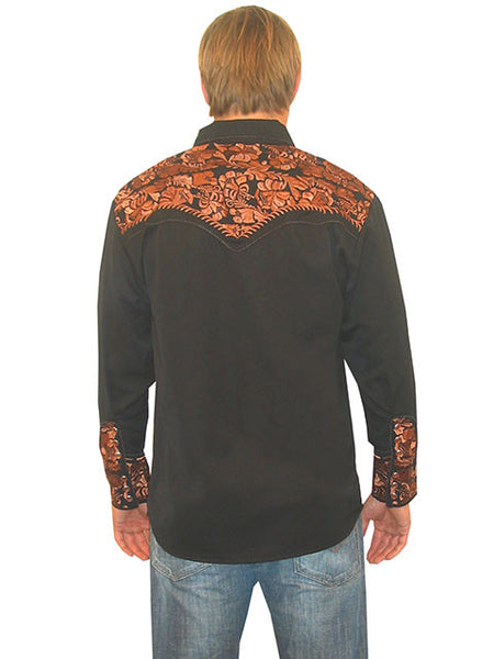 Vintage Inspired Western Shirt Mens Scully Gunfighter Black Rust S-4XL