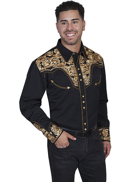 Vintage Inspired Western Shirt Mens Scully Gunfighter Gold S-4XL