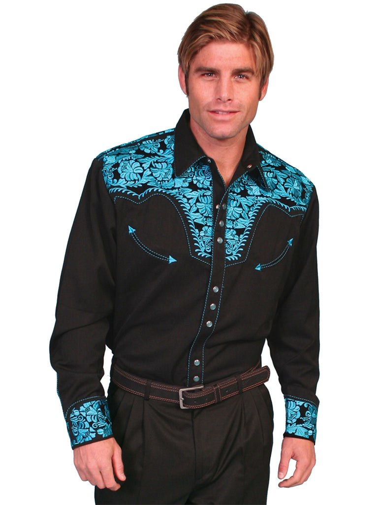 Vintage Inspired Western Shirt Mens Scully Gunfighter Turquoise S-4XL