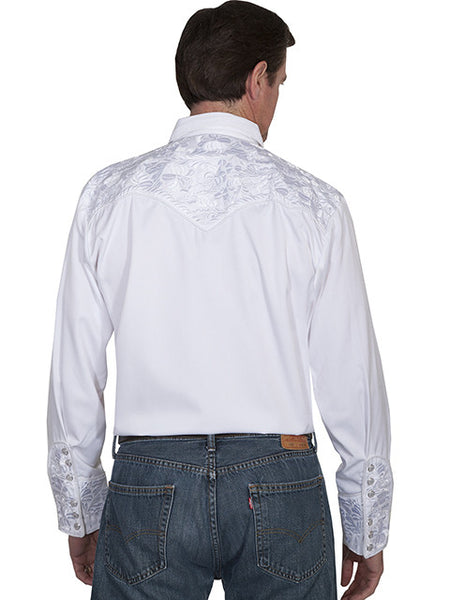 Vintage Inspired Western Shirt Mens Gunfighter White S-4XL