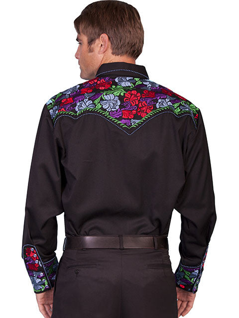 Vintage Inspired Western Shirt Mens Scully Gunfighter Multi Color Back S-4XL