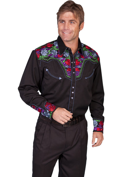 Vintage Inspired Western Shirt Mens Scully Gunfighter Multi Color S-4XL