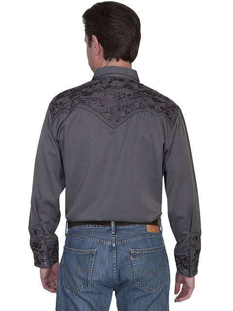 Vintage Inspired Western Shirt Mens Scully Gunfighter Charcoal Back