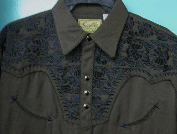 Vintage Inspired Western Shirt Mens Scully Gunfighter Chocolate Front S-2XL