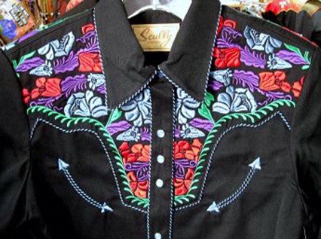 Vintage Inspired Western Shirt Mens Scully Gunfighter Multi Color Front S-4XL