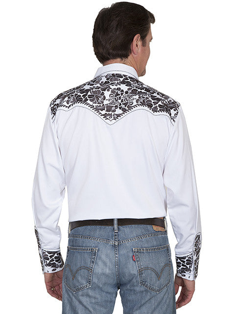 Vintage Inspired Western Shirt Mens Scully Gunfighter White & Pewter Back S-4XL