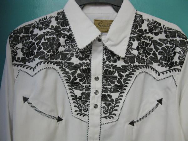 Vintage Inspired Western Shirt Mens Scully Gunfighter White & Pewter Yoke S-4XL