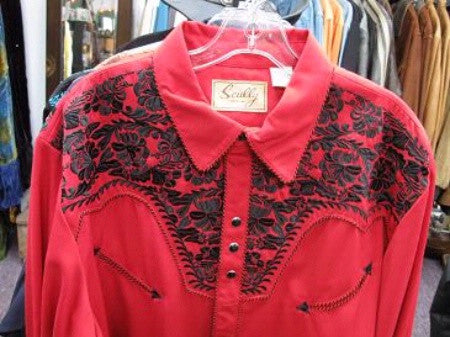 Vintage Inspired Western Shirt Mens Scully Gunfighter Front Yoke Red S-4X