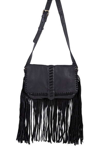 Scully Leather Co. Leather Shoulder Bag Black Leather and Suede with Fringe on Model