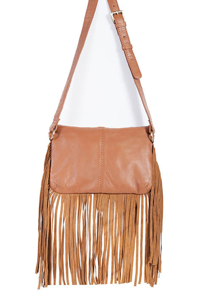 Scully Leather Co. Leather Shoulder Bag with Fringe Palomino Front